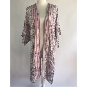 Knox Rose Open Front Paisley Print Cardigan